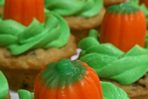 Cupcakes with candy corn topping