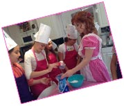 Melissa and teens at cooking party